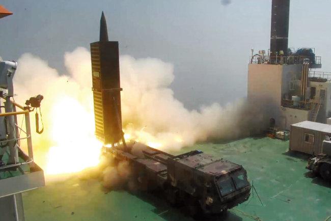 2017년 6월 23일 충남 태안군 국방과학연구소 종합시험장에서 현무-2 미사일이 시험발사됐다. [사진 제공·국방부]