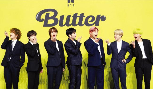 5월 21일 새 디지털 싱글 'Butter'를 발매한 방탄소년단. [뉴스1]