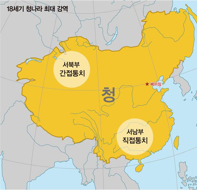 청나라는 서남부 · 서북부 이민족을 각각 다른 체제로 통치했다.