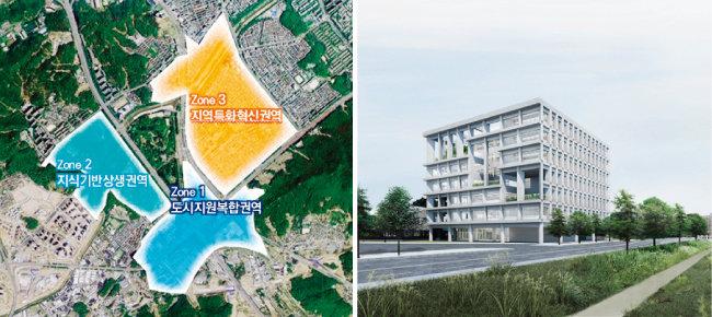 양재택지 지구단위계획 재정비안(왼쪽)과 양재 AI지원센터. [서초구, 동아DB]