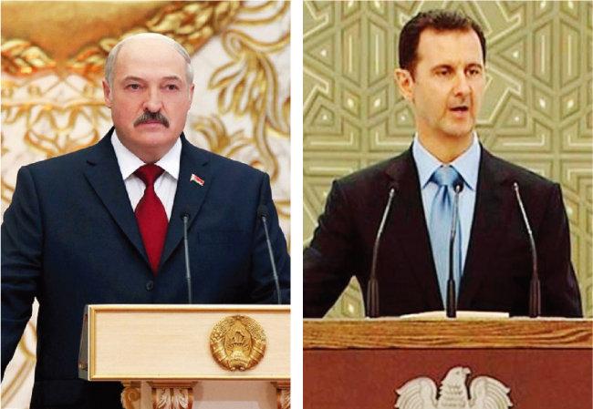 2020년 9월 알렉산드르 루카셴코 벨라루스 대통령이 취임식을 하고 있다(왼쪽). 2014년 취임식을 하고 있는 바샤르 알아사드 시리아 대통령. [벨라루스 대통령궁, SYRIA TV]