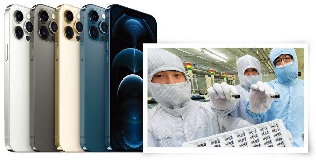 아이폰12 프로맥스(왼쪽)와 LG이노텍의 카메라 모듈. [사진 제공 · 애플, LG이노텍]