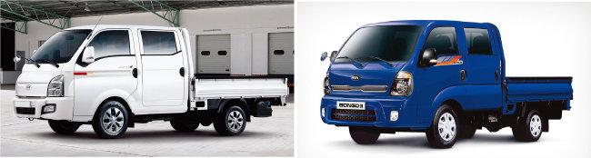 현대자동차 포터2(왼쪽)와, 기아 봉고3 등 소형트럭이 중고차시장에서 인기를 끌고 있다. [사진 제공 · 현대자동차, 기아]