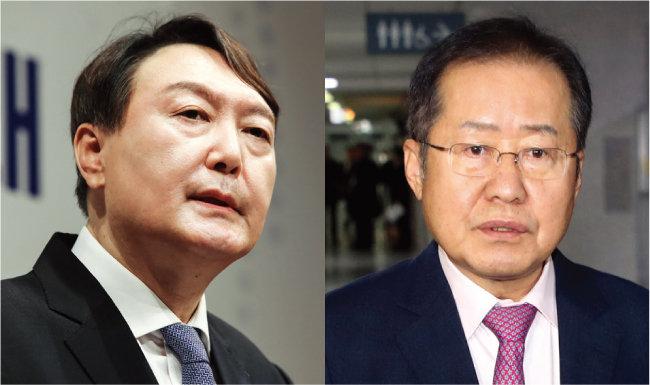 윤석열 전 검찰총장(왼쪽)과 국민의힘 홍준표 의원. [동아DB]