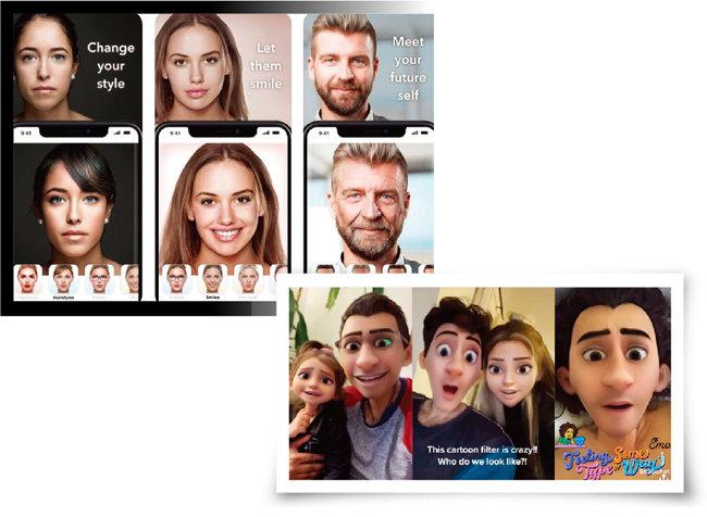 성별을 바꾸고 어리거나 늙어 보이게 사진을 바꾸는 페이스앱(위). 스냅챗 애니메이션 필터. [페이스앱 애플리케이션, 스냅챗 애플리케이션]