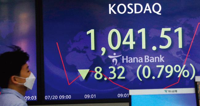 7월 20일 서울 중구 명동 하나은행 본점 딜링룸에서 코스닥 지수가 전 거래일 대비 8.32포인트 하락한 1,041.51을 나타내고 있다. [뉴스1]