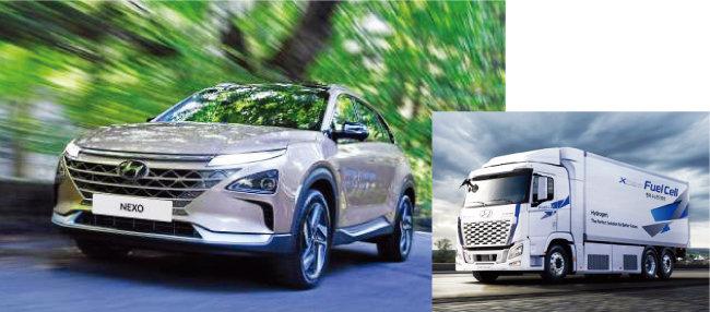 현대자동차의 주력 수소전기차 모델 '넥쏘'(왼쪽)와 수소전기트럭 '엑시언트 퓨얼셀'. [사진 제공 · 현대자동차]