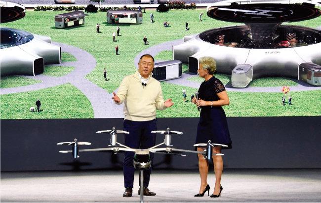정의선 현대자동차그룹 회장(왼쪽)이 지난해 CES 2020에서 미래 모빌리티 비전을 발표하고 있다.