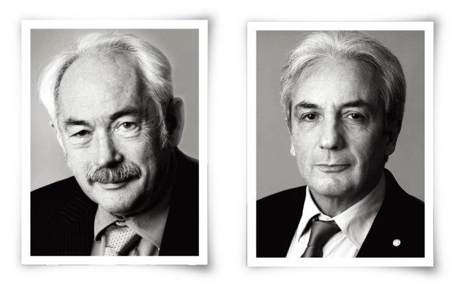 거대자기저항을 발견한 물리학자 페터 그륀베르크(왼쪽)와 알베르 페르. [GETTYIMAGES]