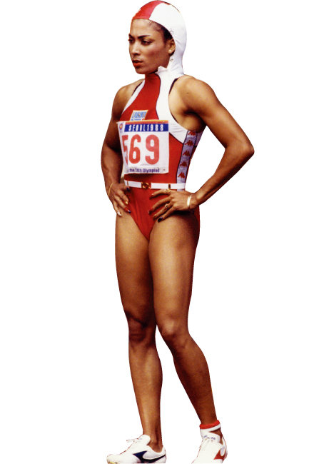 올림픽 패션을 논할 때 빠지지 않는 미국 육상 그리피스 조이너. 1988 서울올림픽 육상 100m, 200m, 400m에서 3관왕에 오른 그는 운동 실력뿐 아니라 패션, 메이크업, 네일 등 스타일 하나하나가 다 화제였다. 가는 벨트로 허리를 강조한 후디 유니폼은 33년이 지난 지금 봐도 힙하다. [동아DB]
