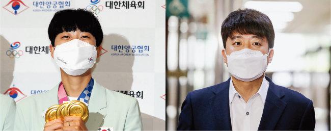 2020 도쿄올림픽에서 3관왕을 달성한 양궁 국가대표 안산 선수(왼쪽)와 국민의힘 이준석 대표. [뉴스1]