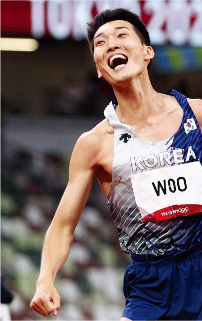 2020 도쿄올림픽에서 육상 높이뛰기 한국 신기록을 세운 우상혁 선수. [뉴스1]