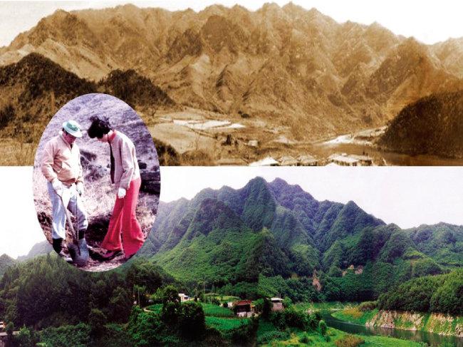 벌거숭이였던 인등산이 울창한 '인재의 숲'으로 변했다. 원 안은 고(故) 최종현 SK 선대회장과 박계희 여사가 1977년 인등산에서 함께 나무를 심는 모습이다. [사진 제공 · SK]
