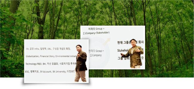 최태원 SK그룹 회장이 7월 22일 경기 이천시 SKMS연구소에서 열린 '2021 확대경영회의'에 참석해 발언하고 있다. [사진 제공 · SK]