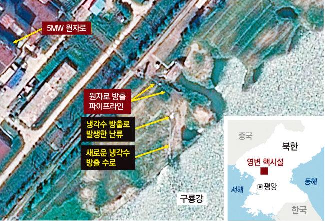 8월 25일 북한 영변에 있는 원자로 5MW(메가와트)로의 냉각수 배출이 포착된 위성사진. [동아DB = 38노스]