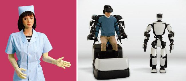헬스케어 로봇으로 개발된 '그레이스'(왼쪽). 사람 움직임을 따라 하는 아바타 로봇 'T-HR3'. [사진 제공 · 어웨이크닝헬스, 사진 제공 · 도요타]