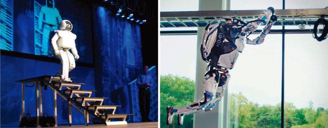 계단 내려오기를 시연 중인 휴머노이드 '아시모'(왼쪽). 고난도의 파쿠르를 시험 중인 현대자동차그룹 '아틀라스'. [사진 제공 · 혼다, 사진 제공 · 보스턴 다이내믹스(현대자동차그룹)]