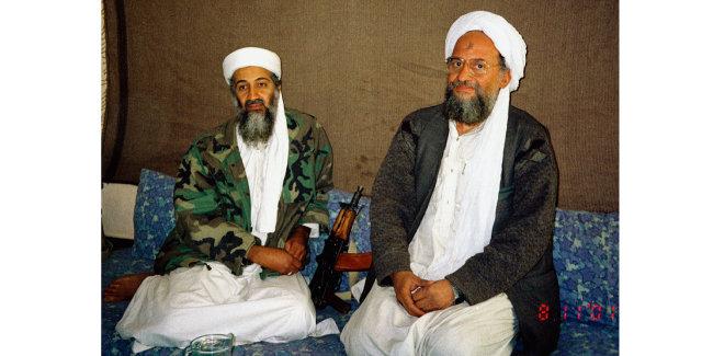 2011년 당시 알카에다 수장 오사마 빈라덴(왼쪽)과 2인자 아이만 알자와히리. [위키피디아]
