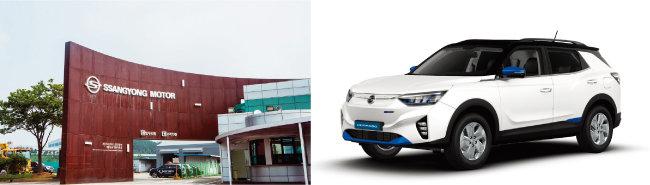 경기 평택시 쌍용자동차 공장(왼쪽)과 쌍용차 첫 전기차 모델 '코란도 이모션'. [사진 제공 · 쌍용자동차]