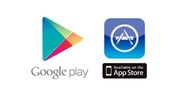 구글과 애플의 애플리케이션 플랫폼 '구글 플레이'(왼쪽)와 '앱스토어' 로고. [사진 제공 · 구글, 애플]