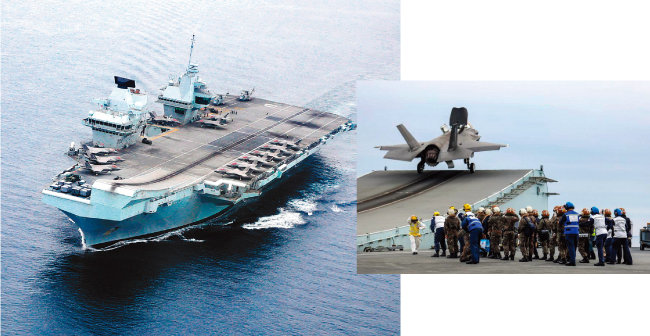 8월 31일 동해상에서 한국 해군과 연합 해상훈련을 하고 있는 영국 항공모함 퀸엘리자베스(왼쪽)와 퀸엘리자베스 비행갑판에서 이륙하는 F-35B 전투기. [사진 제공 · 영국 해군]