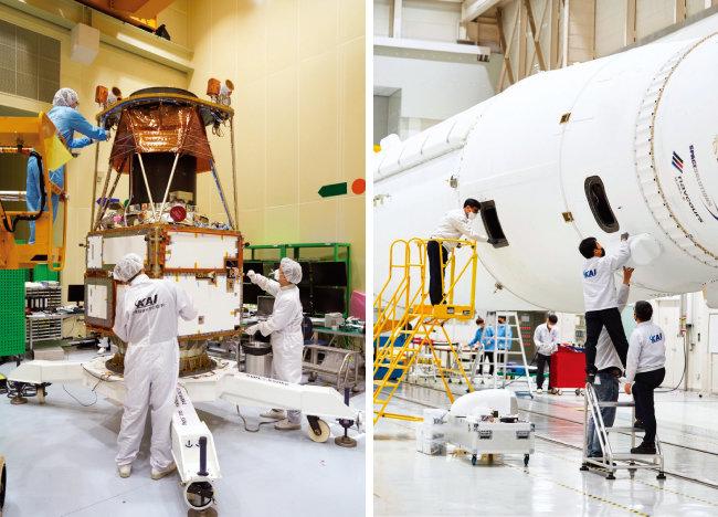 한국형 발사체 '누리호' 총 조립 현장(오른쪽)과 한국항공우주산업(KAI)이 개발·제작한 차세대 중형위성 2호. [사진 제공 · 한국항공우주산업]