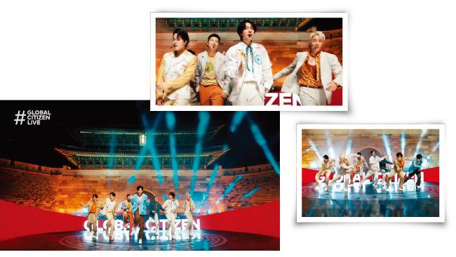 9월 26일(현지시각) '글로벌 시티즌 라이브' 오프닝 무대에서 방탄소년단이 숭례문을 배경으로 '퍼미션 투 댄스(Permission to Dance)'를 열창하고 있다. [유튜브 캡처]