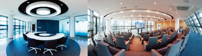 고려대의료원 청담 고영캠퍼스 임상연구지원본부(왼쪽)와 원격강의실 내부 모습. [사진 제공 · 고려대의료원]