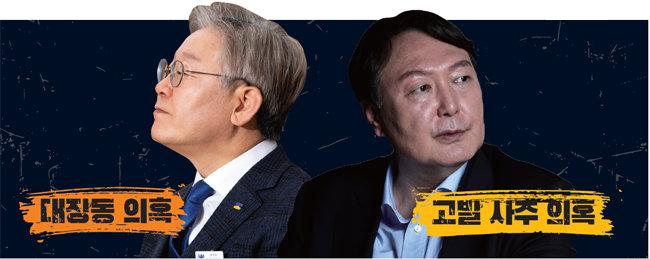 이재명 경기도지사(왼쪽)와 윤석열 전 검찰총장. [동아DB]
