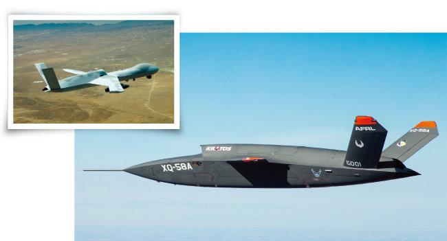 미국 드론 제조업체 제너럴 아토믹스의 MQ-20 '어벤저'(위)와 크라토스의 XQ-58A '발키리'. [사진 제공 · 제너럴 아토믹스, 사진 제공 · 미 공군]