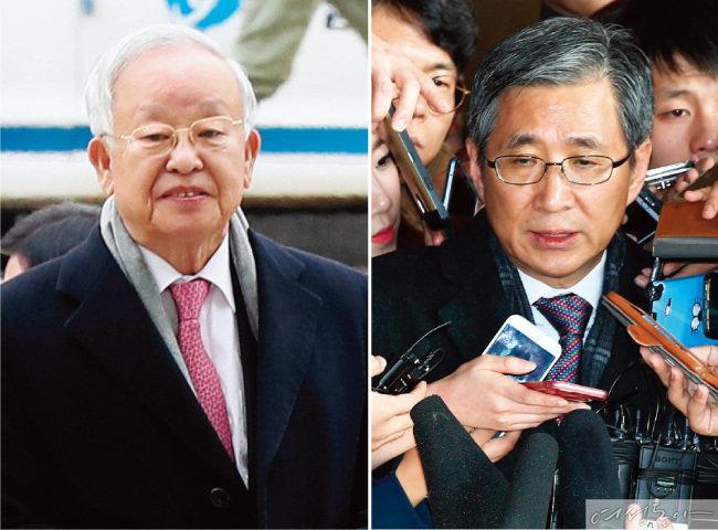 박근혜 전 대통령의 이미경 부회장 사퇴 강요 미수 혐의 재판에 증인과 피고인으로 나온 손경식 CJ 회장(왼쪽)과 조원동 전 경제수석(오른쪽). 박 전 대통령은 건강 상의 이유로 재판에 출석하지않았다.
