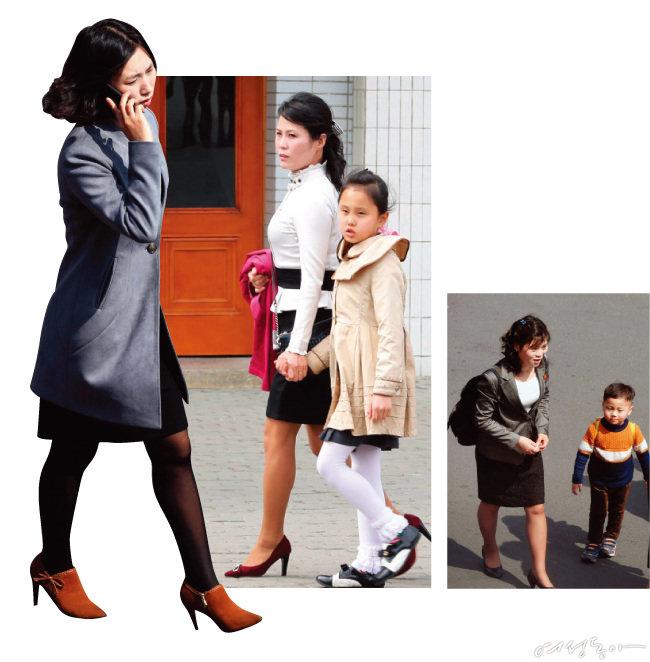 지난 4월 1일부터 3일까지 북한 평양에서 포착된 북한 여성들. 하이힐과 미니스커트 등 과거에 비해 세련된 헤어와 패션 스타일이 눈길을 끈다.