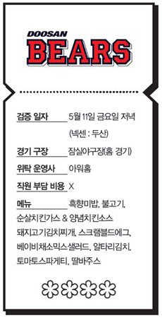 '미역 사절' 두산 베어스 vs. '고기 3종' SK 와이번스