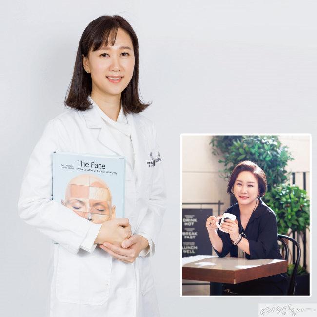 안면거상술과 쁘띠 시술로 젊음 되찾은 60대 안혜성 씨.(오른쪽)