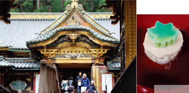 도쇼구에서 가장 화려한 건축물인 요메이몬과 닛코의 대표 음식 유바(오른쪽).