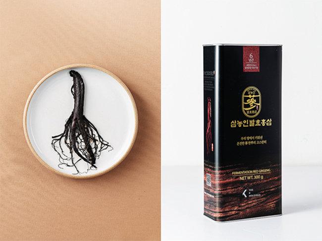 뿌리째 먹을 수 있는 삼농인발효홍삼(왼쪽), 진한 검은색의 고급스러운 패키지.