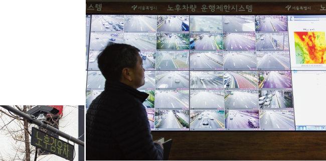 서울시청 미세먼지 운행제한 상황실에서 CCTV를 통해 서울시내 노후 경유차를 체크하는 모습.