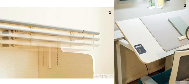 1. 아이의 체형에 맞춰 상판 높이를 조절할 수 있는 이타카네오 모션데스크. 2. 상판 버튼으로 손쉽게 높이를 조절할 수 있다.