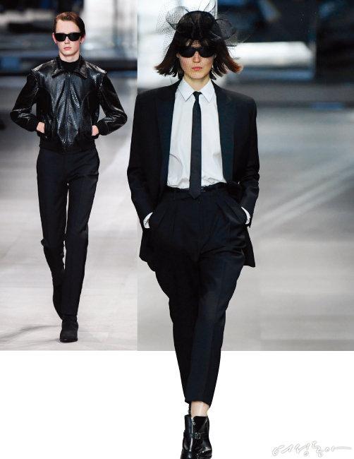 유니섹스 코드로 새로운 셀린느 여성을 위한 옷을 선보인 에디 슬리먼.