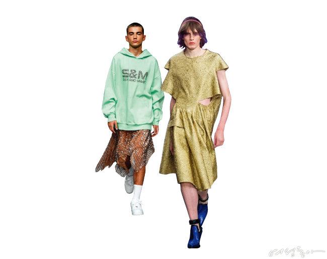 치마를 입은 남자 모델이 등장한 아쉬시(왼쪽)와 메종마르지엘라.