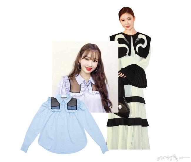 러플 블라우스. 13만8천원(왼쪽).  플라밍고 디테일 롱 드레스. 78만원.