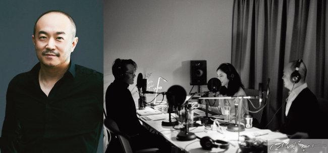 조수용 카카오 공동대표(왼쪽). 박지윤과 조 대표가 사랑의 오작교가 되어준 팟캐스트에 호스트와 패널로 출연할 당시의 모습.