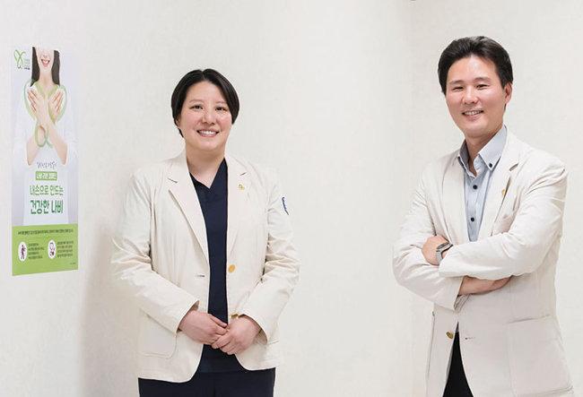 은평성모병원 갑상선센터의 김민희 내분비내과 조교수(오른쪽)와 이소희 갑상선내분비외과 조교수.
