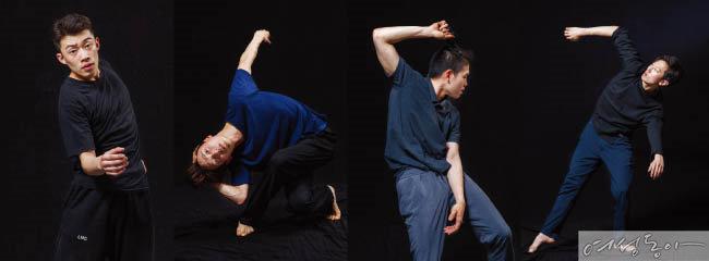 강인한 신체 에너지를 표현한 무용극 '0g'의 무용수 문경재, 정철인, 류지수, 전중근(왼쪽부터).