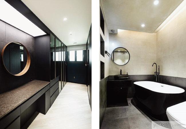 드레스룸은 블랙 컬러 필름으로 시공해 모던하게 연출했다(왼쪽). 침실 욕실은 벽면에 투 톤 타일을 시공해 모던 시크 스타일로 완성했다. 간단한 수납은 벽에 매입 공간을 만들어 해결했다.