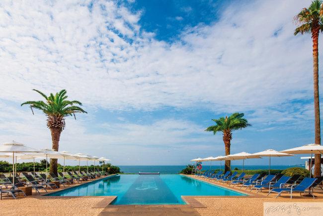 이국적인 풍광과 아름다운 야외 수영장을 갖추고 있는 대명 샤인빌 리조트(제주).