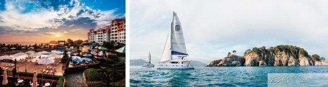 아름다운 석양을 즐길 수 있는 대명리조트 변산(왼쪽)과 해양 마리나 리조트의 명가로 불리는 대명리조트 거제마리나.