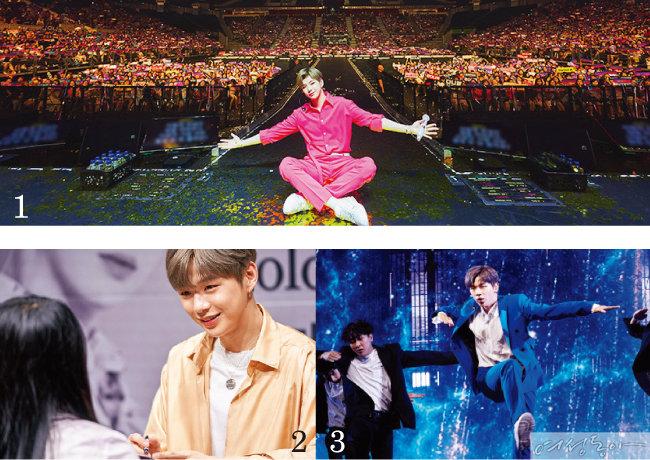 1 성황리에 개최된 싱가포르 팬미팅. 2 팬들에게 다정하게 눈을 맞춰주는 그에게는 '팬바보'라는 별명이 있다. 3 열정적인 무대를 보여줬던 언론 쇼케이스 현장.