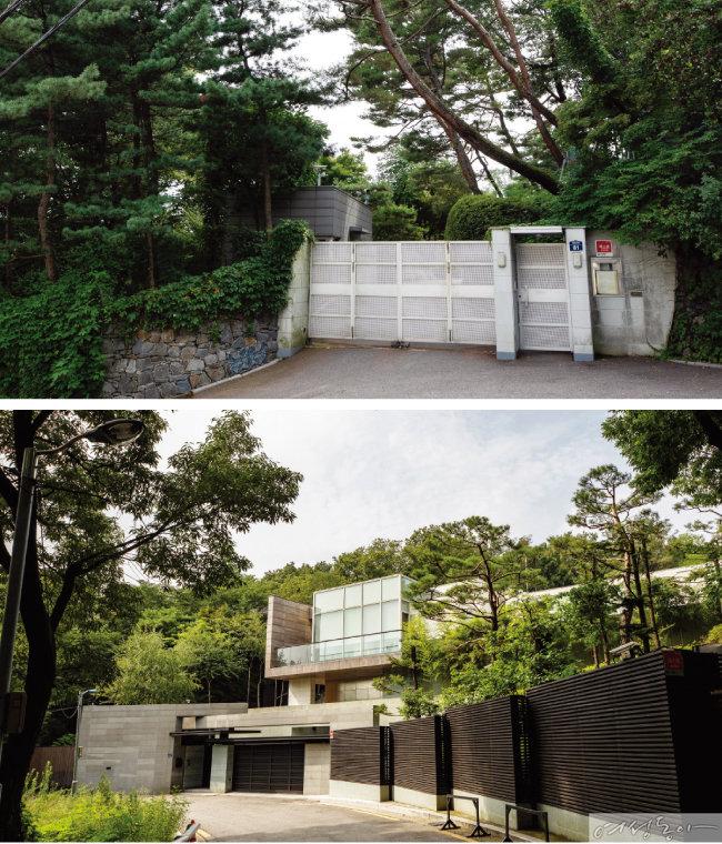 서울 성북동에 위치한 이웅열 전 코오롱그룹 회장의 자택(위)과 전인장 삼양식품 회장의 자택.