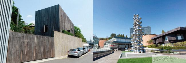 이건희 삼성전자 회장의 한남동 자택(왼쪽)과 삼성미술관 리움 내부 모습.